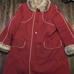1970's Faux Fur Lined Burgundy Penny Lane  Coat